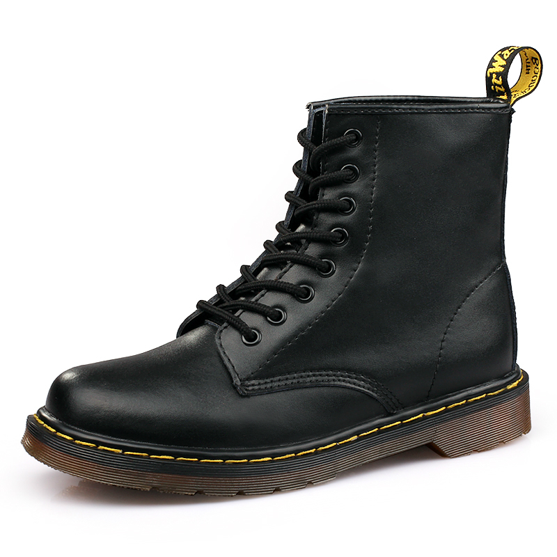 Autumn Classic Black PU Leather Women Boots Winter Soft Bottom Martens Woman Boots Shoes Sexy Locomotive Martin Boots Size 40