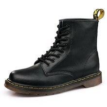 Autumn Classic Black PU Leather Women Boots Winter Soft Bottom Dr Martens Woman