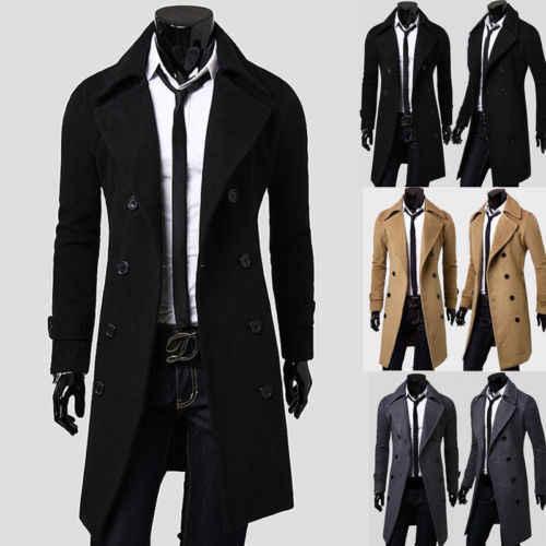 새 봄 가을 겨울 남성 트렌치 코트 따뜻한 짙은 자켓 모직 피코트 롱 오버 코트 탑스 남성용 윈드 브레이커 자켓