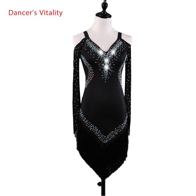 Custom made Latin dans elbise kadın kızlar Rumba Cha cha etek balo salonu yarışması kostüm giyim elmas dans elbise