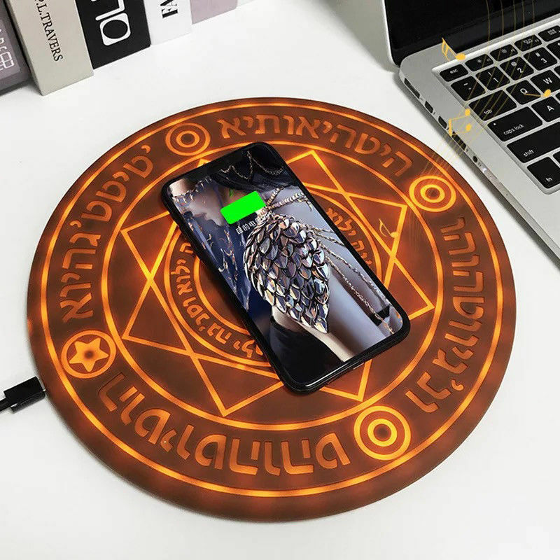 Magic Array 10W Wireless Mobile Phone Charging Round Glowing Chargers Pad For IPhone Samsung Huawei Xiaomi