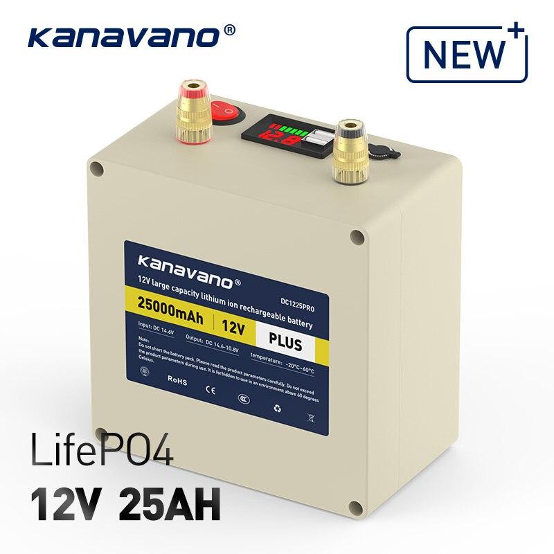 Аккумулятор LifePO4 12 В, 25 Ач, с BMS, для 12,8 в, 25000 мАч, резервный внешний аккумулятор, портативная солнечная панель, с зарядным устройством 4A EU/US