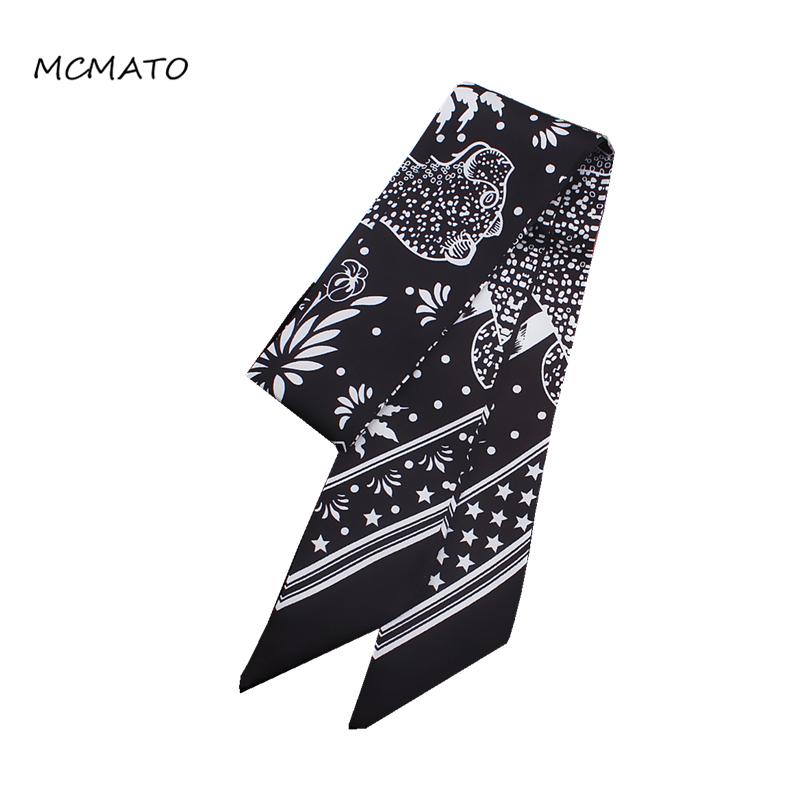 2020 New Design Woman Silk Scarf Five-pointed Star Leopard Print 88cm*5cm Long Small Scarf Bag Ribbons Fashion Tie Head Scarf