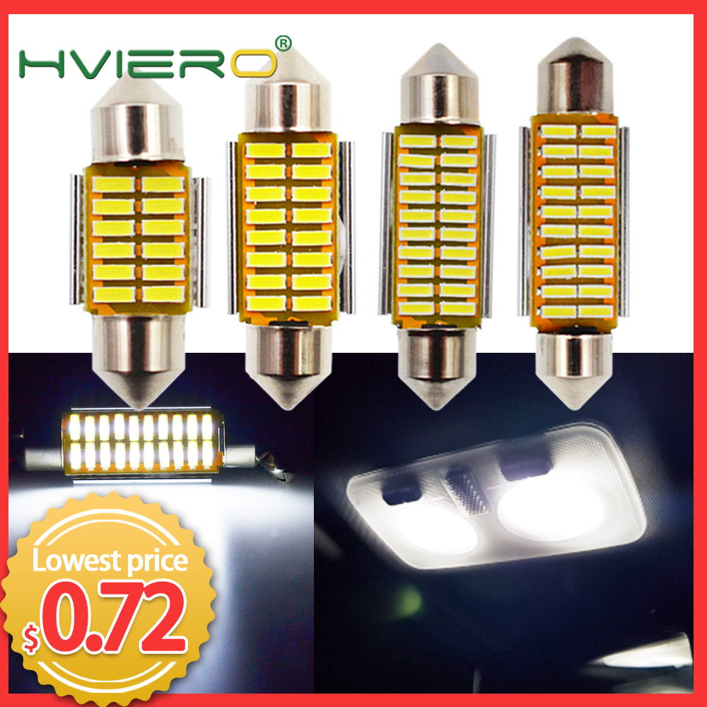 Auto Led White Festoon Dome C5W C10W Bulb 31mm 36mm 39mm 42mm LED 4014 SMD Canbus Error Free Auto Interior Doom Lamp Auto Light