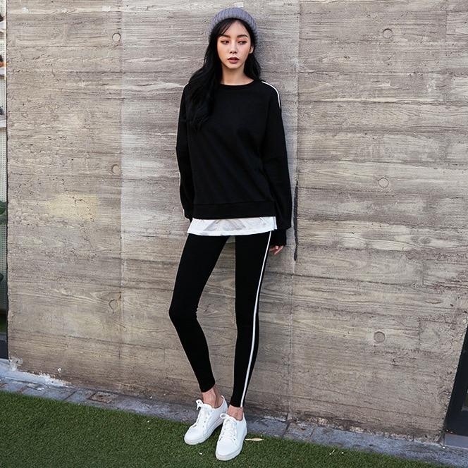 2019 Spring New Style South Korea Hot Models Crew Neck White Hoodie Slim Fit Skinny Pants Women's Slimming-Style Set