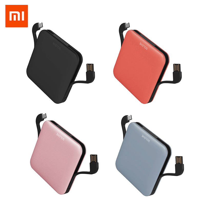 SOLOVE Power Bank with Data Cable 10000mAh Powerbank LED Display Portable Fast Charger For Xiaomi Huawei iPhone
