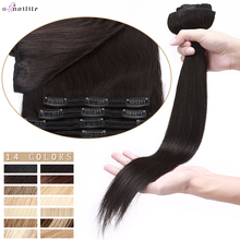 Human-Hair Hair-Extensions S-Noilite Straight 10--24-clip-In 110g-170g Blonde Thick Natural