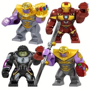 Big Size Iron Man With Gauntlet Hulk Thanos Spider Man Figures Blocks Construction Bricks Toys For Children(China)