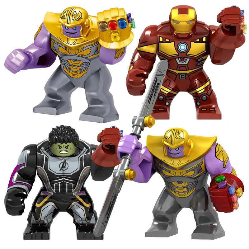 Duży rozmiar Iron Man z rękawicą Hulk Thanos Spider-Man figurki bloki budowlane cegły zabawki dla dzieci
