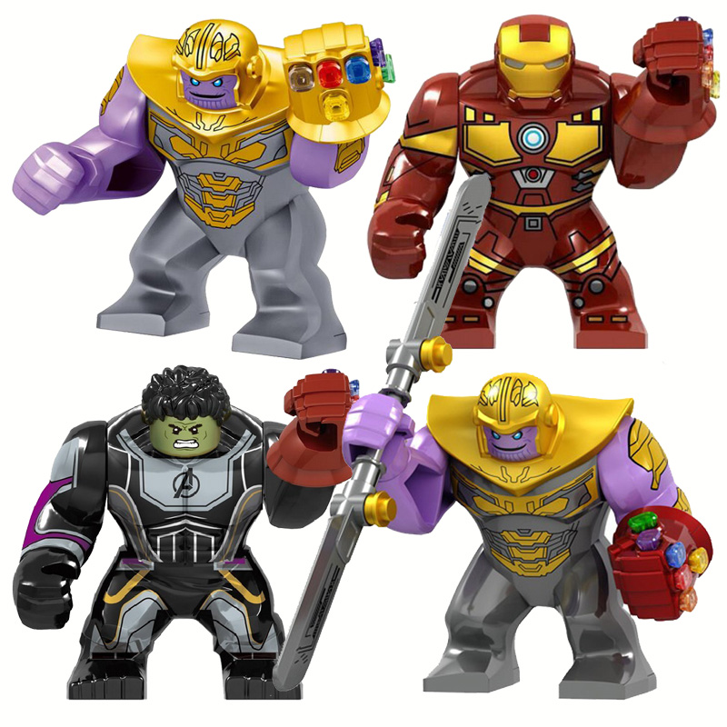 Super Heroes Big Size Iron Man With Gauntlet Hulk Thanos Spider Man Figures Blocks Compatible Legoe Bricks Toys For Children