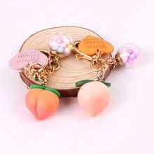 Розовое сердце для девочек стерео персиковый брелок семь красочных