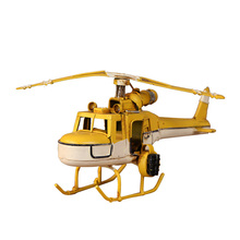 Retro Helicopter Model Home Decoration Accessories Vintage Airplane Handmade Iron Craft Gift Tabletop Desk