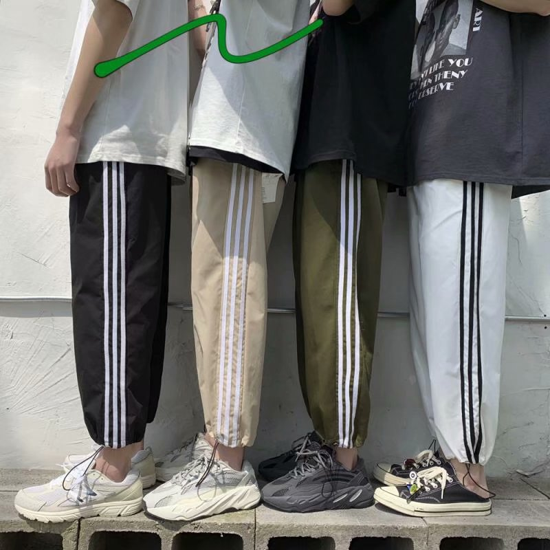 Three Line Sports Pants Super Fire Cec Pants Men Straight Loose Summer Thin Section Nine Points Tide Brand Ins Beam Foot Leisure
