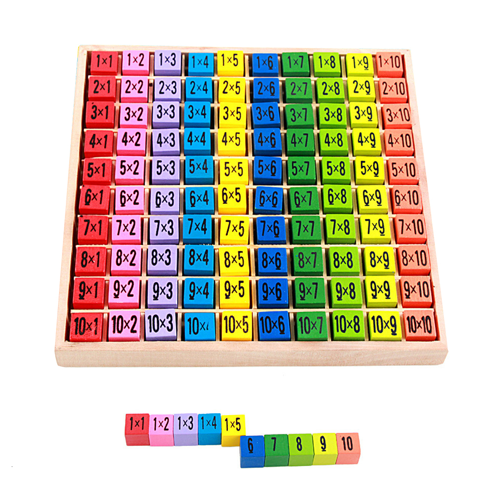 Montessori Educational Toy Wooden Number Math Game 10*10 Multiplication Table Educational Toy Puzzle For Children Gift