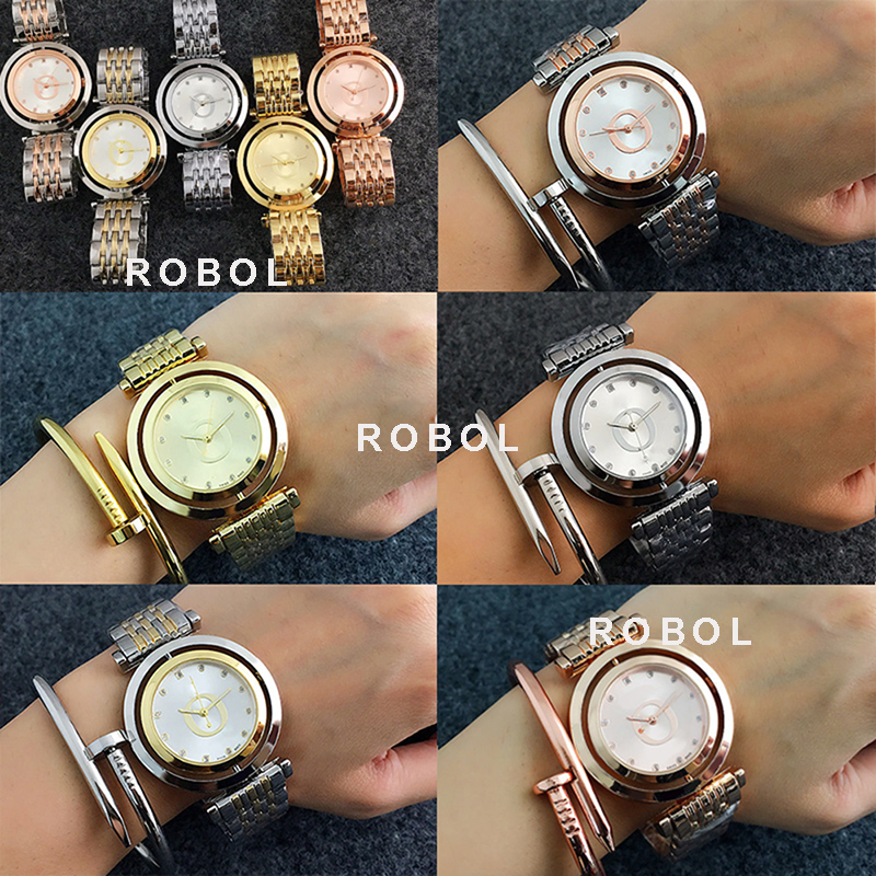 RLLEN Stainless Steel Men Women Couples Quartz Watches Fashion Luxury Jewelry Gift Precision Temperament Charm Generous