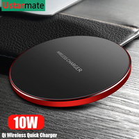 Qi Wireless Charger 10W Quick Charger for iPhone X Xs XR 8 Metal Fast Wireless Charging Pad for Samsung S9 S10 Note 8 9 10 Plus 5