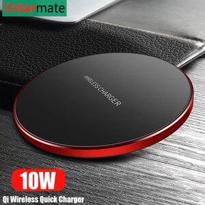 Image 5 - Qi Wireless Charger 10 วัตต์สำหรับ iPhone X XS XR 8 โลหะ Fast Wireless CHARGING Pad สำหรับ Samsung s9 S10 หมายเหตุ 8 9 10 PLUS