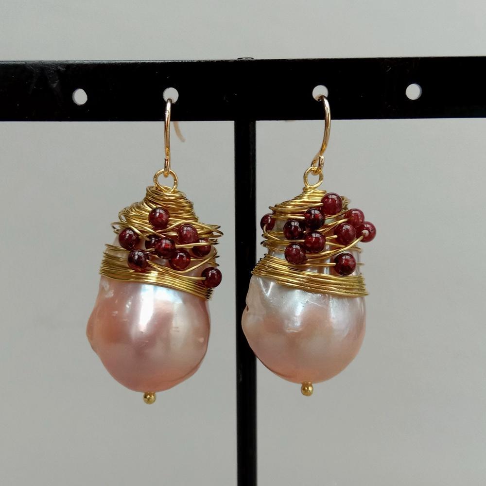 16x26MM Rosa agua dulce keshi perla gota barroca gancho pendientes venta al por mayor de cuentas de lujo para las mujeres
