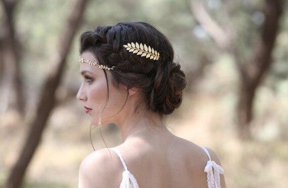 ouro tira noiva hairpin folhas p-pin &