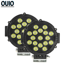 Round Work Light 17 LED 51W Bar for 4x4 Car Truck Offroad 12V Tractor Boat ATV Auto Headlight Spotlight Lamp Led