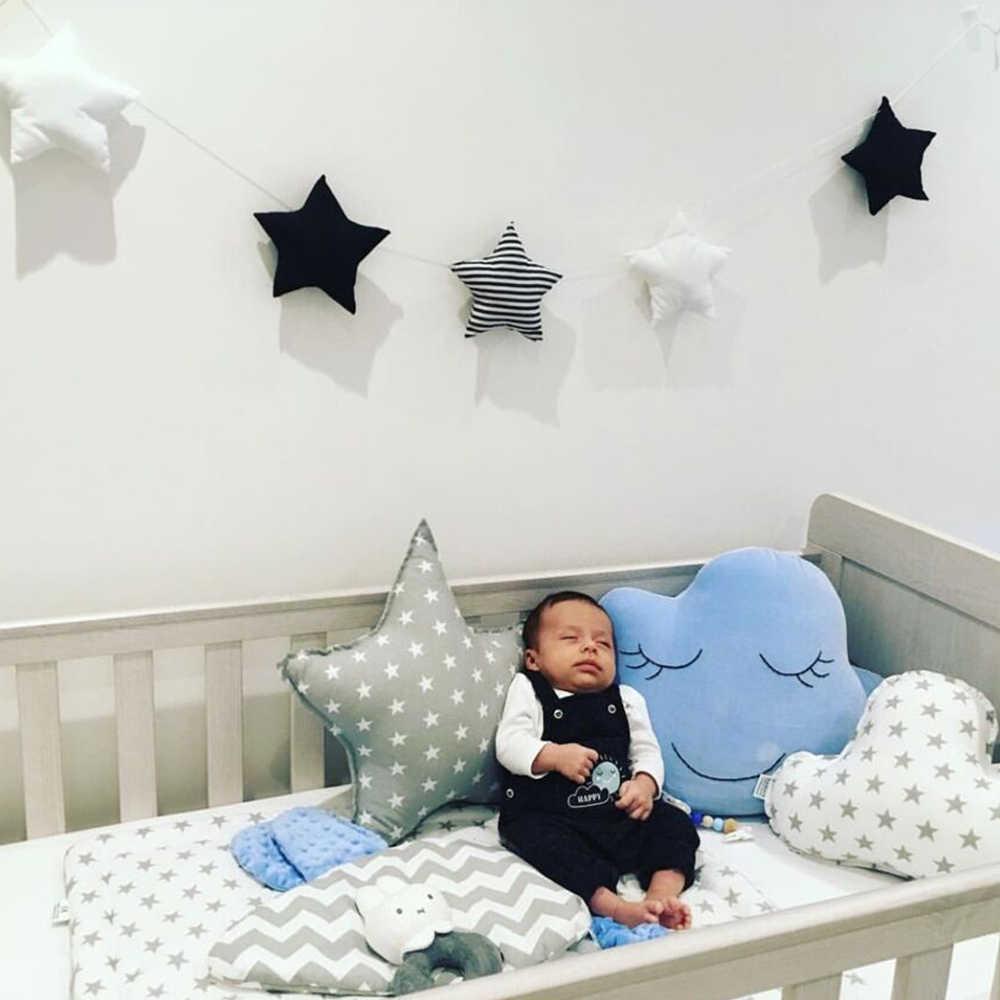 Decoración de parachoques para habitación de bebé para niños estrellas diseño de estilo Ins rayado Pared de habitación de bebé cuna colgante de algodón accesorios de fotografía regalos