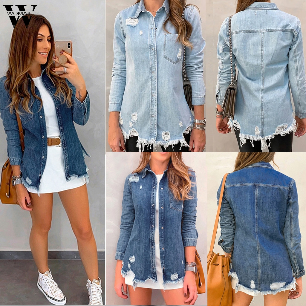 Womail Jacket Coat Women Vintage Basic Coat Denim Jacket Winter Hole Jeans Jacket Coat Loose Fit Casual Korea Kpop Overcoat 815