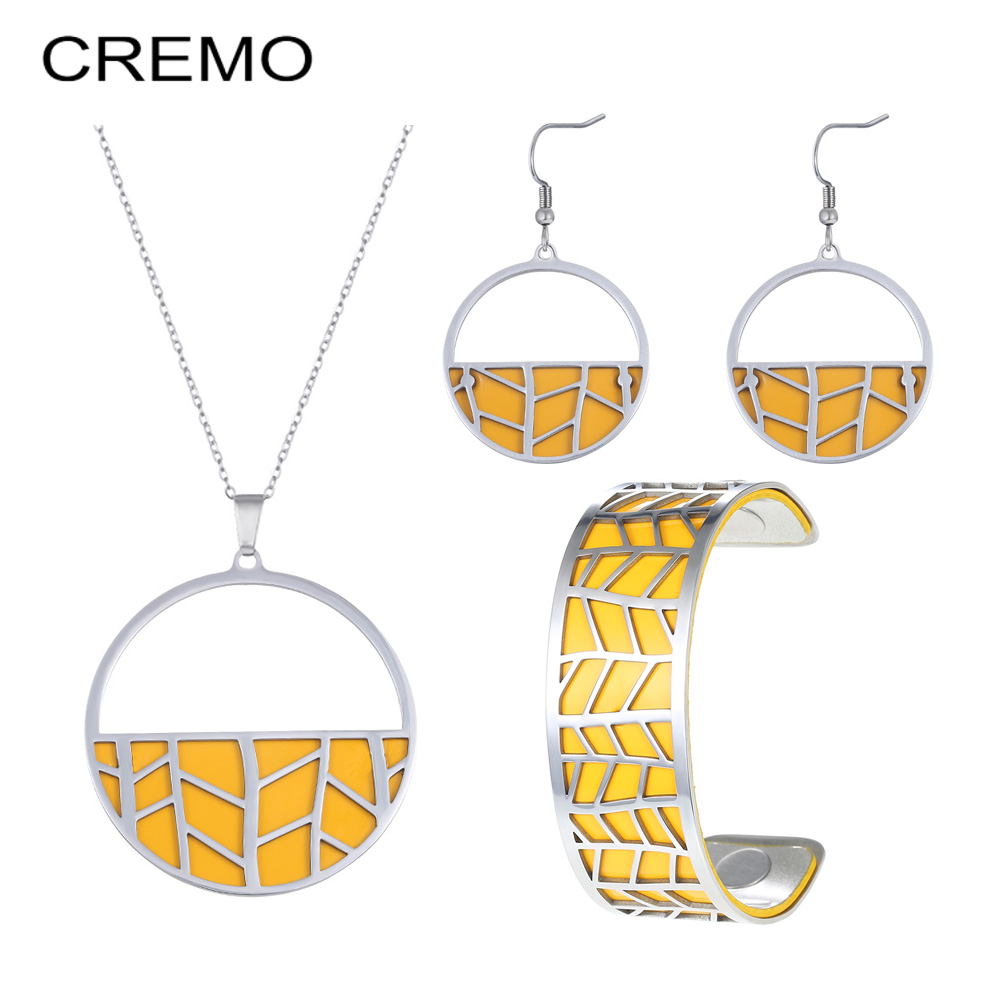 Cremo Ring and Necklace <font><b>set</b></font> <font><b>Stainless</b></font> <font><b>Steel</b></font> Bangle Unique Rings <font><b>For</b></font> <font><b>Women</b></font> DIY Necklace Interchangeable Leather <font><b>Jewelry</b></font> <font><b>set</b></font> image