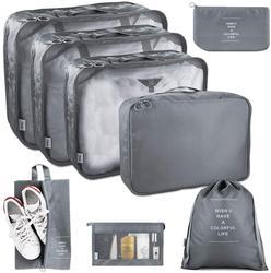 8 sztuk kostki do pakowania do podróży lekka walizka organizery do pakowania zestaw z torba na buty i worek na pranie walizki do przechowywania w Składane torby do przechowywania od Dom i ogród na