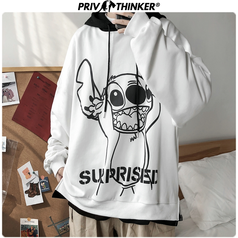 Privathinker 2020 Mens Carton Printed Spring Hoodies Men Woman Fashion Korean Hooded Sweatshirt Male Hooded Streetwear Clothing