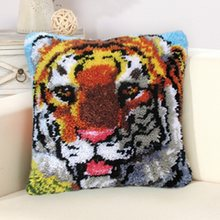 DIY Tiger Latch Hook Rug Crocheting Carpet Rug Acrylic Yarn Pre-Printed Canvas Cushion Mat Crochet Tapestry Latched Hook Kits F(China)