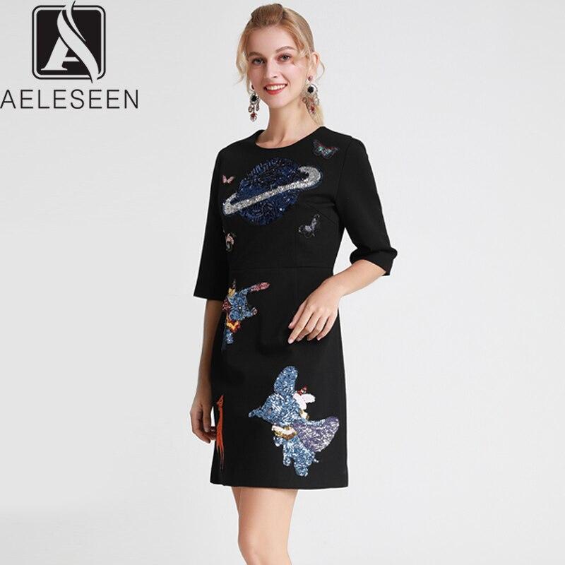 AELESEEN 2019 automne nouveau Design de piste haute rue a-ligne robes femmes de luxe paillettes mignon Carton Dumbo modèle Mini robe