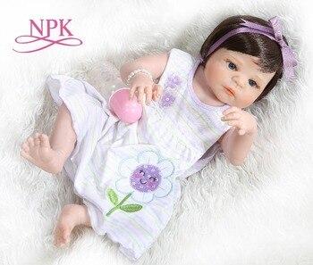 NPK 56CM bebe doll reborn baby doll  cute girl victoria full body silicone Bath toy soft real touch Birthday Gift