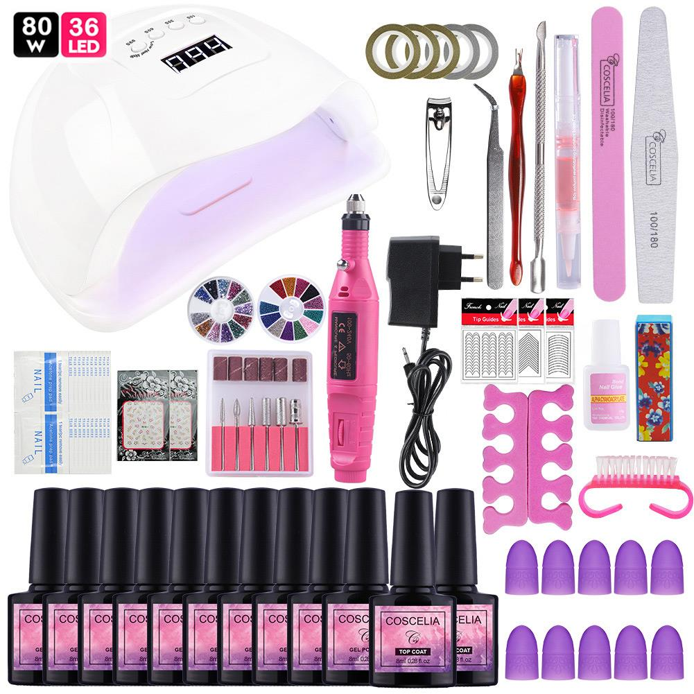 Manicure Set Nail Gel Polish Kit Nail Lamp Dryer US/EU Plug With Soak Off Varnish Extension Set For Manicure Nail Art Tool Kit