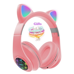 RGB Cat Ear Headphones Bluetooth 5.0 Noise Cancelling Adults Kids girl Headset Support TF Card FM Radio With Mic Gift bracelet