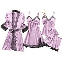 4 Pcs/Set Women Pajamas Sets Satin Sleepwear Silk Nightwear Pyjama Spaghetti Strap Lace Sle