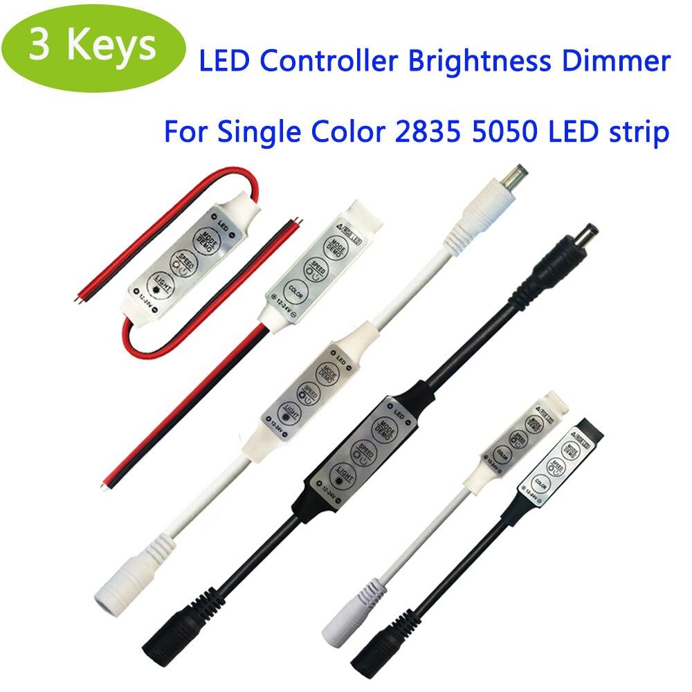 Mini LED RGB Controller 3 Key LED Controller Brightness Dimmer DC 12-24 V For Single Color String LED Strip 2835 5050 LED Strip