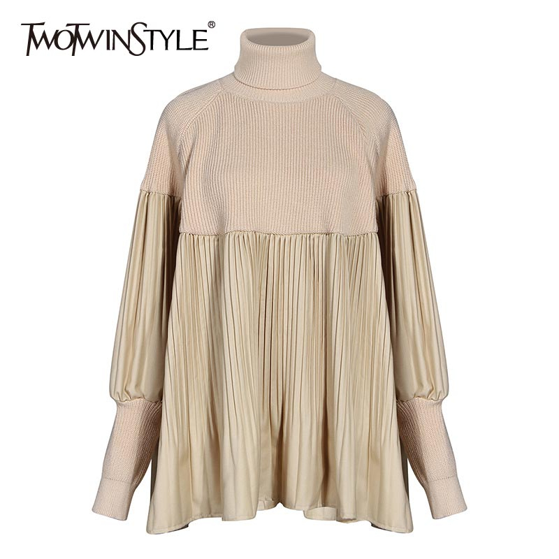 TWOTWINSTYLE Patchwork Pleated Knitting Sweaters For Female Turtleneck Lantern Long Sleeve Loose Sweater Women Fashion Clothing