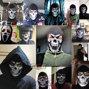 Image 5 - 3D Skull Grim Balaclava Motorcycle Volgelaatsmasker Cover Helm Liner Motorbike Fietsen Snowboard Halloween Ghost Dood Biker Mannen