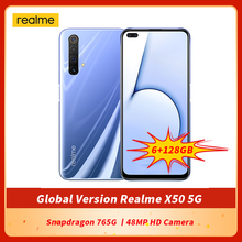 オリジナルrealme X50 5グラムグローバルバージョンのスマートフォン6.57インチ6ギガバイト128ギガバイトのsnapdragon 765 3gオクタコアのandroid 10 sa/nsa nfc