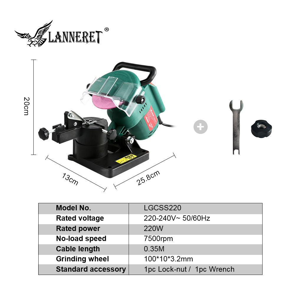 """Image 2 - LANNERET 220W 100mm 4"""" Inches Power Chain Saw Sharpener Grinder Machine Garden Tools Portable Electric Chainsaw Sharpener-in Grinders from Tools"""