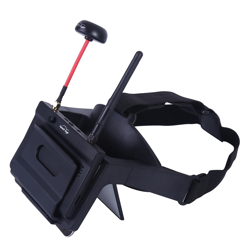 Hawkeye Little Pilot VR All-in-one 5 Inch True Diversity <font><b>FPV</b></font> Monitor 5.8G 48CH Dual Receiver Foldable <font><b>Goggles</b></font> for RC <font><b>Drone</b></font> image