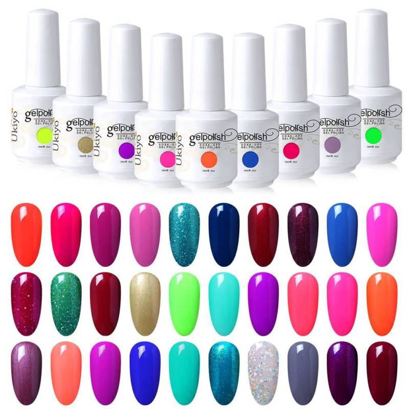 Ukiyo 15ml UV Gel Nail Polish Soak Off Pure Color Gel Polish Varnish Lacquer Semi Permanent Nail Polish UV 170 Gorgeous Colors
