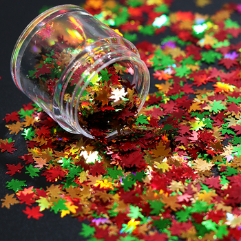 Mix Color Autumn Leaf Shape Maple Nail Glitter Art Decoration Gel Body Makeup Handwork Crafts DIY