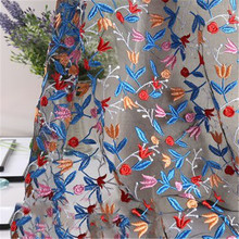 New floral embroidery mesh fashion wedding home textile curtain fabric hug pillowcase clothing accessories