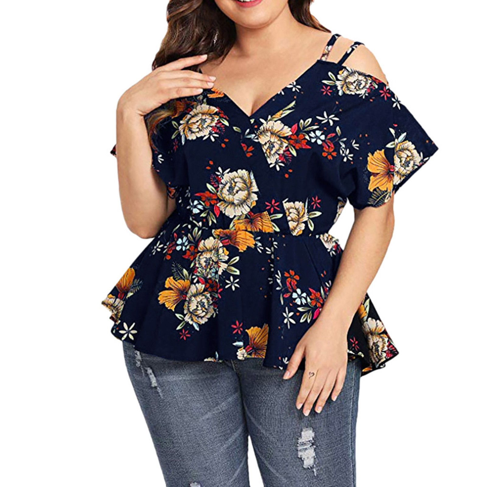 Women's 5xl Plus Size Tunic Shirt V neck Short Sleeve Shirts Strapless Floral Printed Summer Top Blouse For Women Блузка Женская