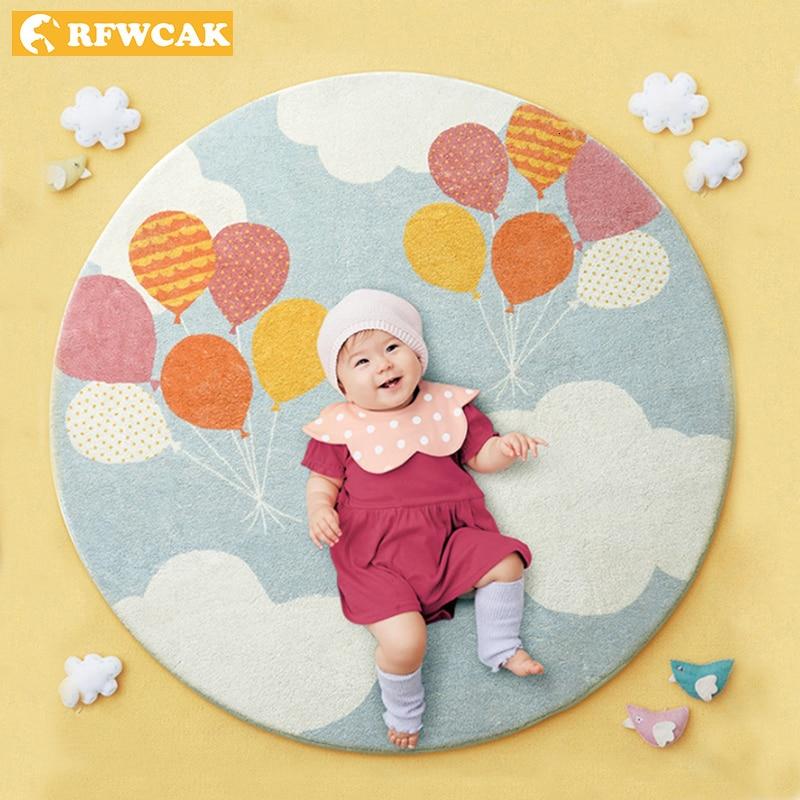 RFWCAK tapis rond pour salon Babys tapis de jeu enfants ramper tapis chambre tapis Enfant Tapete Para Sala bébé chambre décor