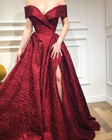 Long Sky Blue Evening Dresses 2020 Elegant Sexy Dark Red Split Formal Gowns Woman Night Party Gown Prom Dress vestidos de fiesta