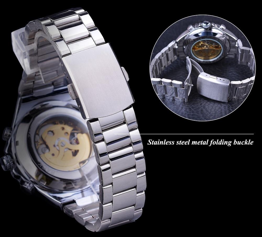 H2d00b6358c094947b5c24a4d8394747di Winner Classic Series Golden Movement Steel Mens Skeleton Man Wrist Watch Mechanical Top Brand Luxury Fashion Automatic Watches