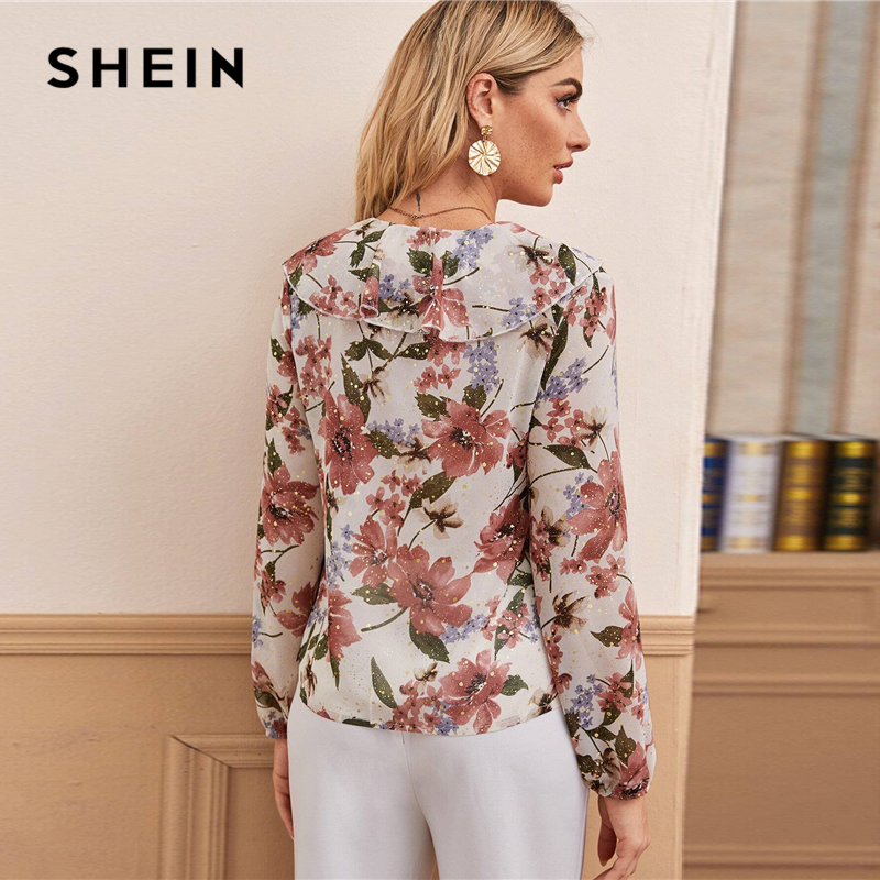 SHEIN V Neck Floral Print Ruffle Trim Elegant Blouse Women Tops 2020 Spring Multicolor Long Sleeve Ladies Boho Blouses And Tops 2