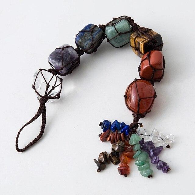 7 Chakra Tumbled Pietra Preziosa Nappa Spirituale Meditazione Appeso/Finestra/Feng Shui Ornamento Pietre Naturali Auto/Complementi Arredo Casa 6